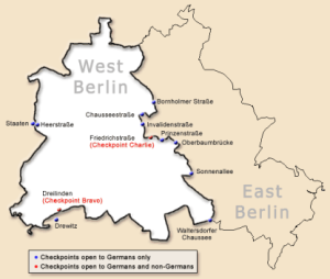 Map of West and East Berlin